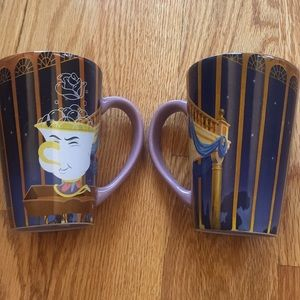 Set of two beauty and the beast mugs.